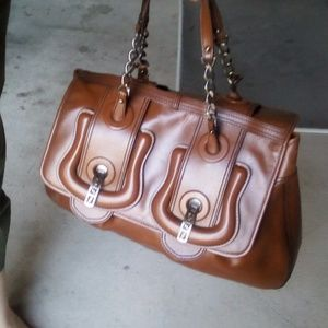 Fendi Brown Patent Leather Large B Bag